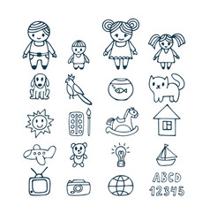 family icons set in doodle style hand drawn vector image
