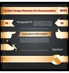Golden Design Elements For Documentation Set4 vector image vector image