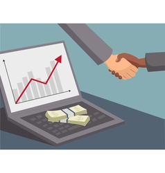 handshake and money on laptop vector image vector image