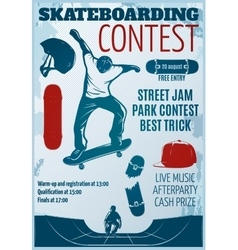 Skateboarding Colored Poster vector image