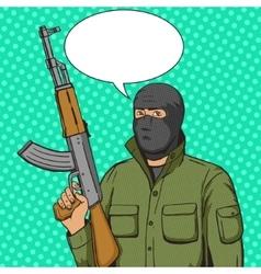 Terrorist man with weapon pop art style vector image