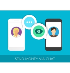 Transferring money via chat vector image