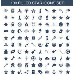 100 star icons vector image