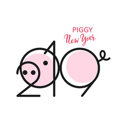 2019 pig new year black vector image