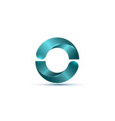 3d logo glossy bio design with light blue circle vector image