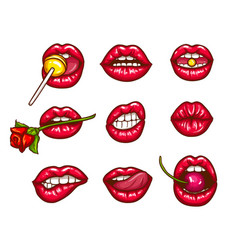 A collection of pop art icons of red female lips vector