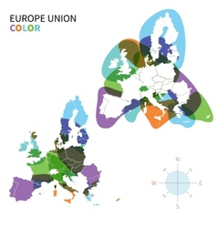 Abstract color Political map of Europe vector image