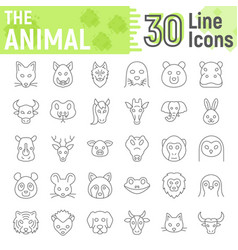 animal thin line icon set beast symbols vector image