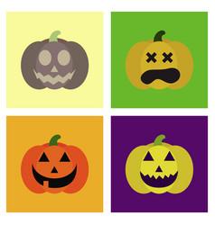 Assembly flat icons halloween emotion pumpkin vector