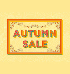 autumn sale background template with retro vector image