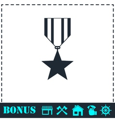 Award icon flat vector