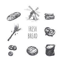 bakery shop set windmill bag flour ears and vector image