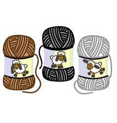 Balls of woolen yarn vector