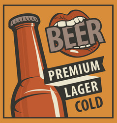 banner with beer bottle in retro style vector image