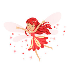 beautiful smiling red fairy girl flying colorful vector image