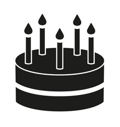 black and white birthday cake 5 candles silhouette vector image