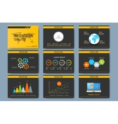 Black and yellow set of templates for vector image