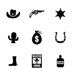 Black wild west icons set vector