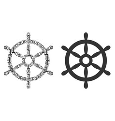 Boat steering wheel collage of binary digits vector