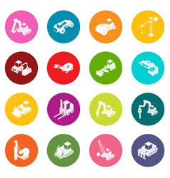 building materials icons set colorful circles vector image