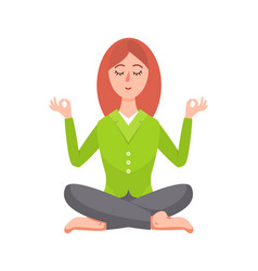 business woman sitting in lotus pose image vector image