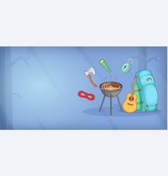 Camping horizontal banner items cartoon style vector