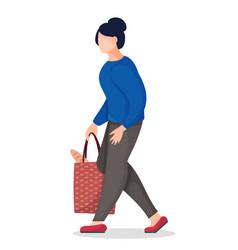 Cartoon faceless character woman bring bag vector