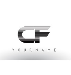 Cf c f black and white horizontal stripes letter vector