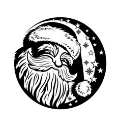 Christmas round sign with santa claus vector