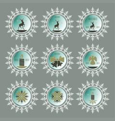 Christmas snowflake of green hue set vector