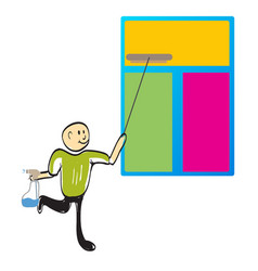 Cleaner cleaning a window vector