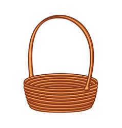 Colorful cartoon empty wicker basket vector