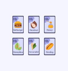 Colorful phonics flashcard letter h - hamburger vector