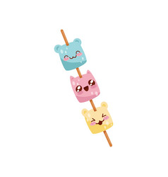 cute marshmallow on wooden stick kawaii food vector image