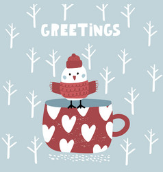 cute winter greeting background with bird on mug vector image