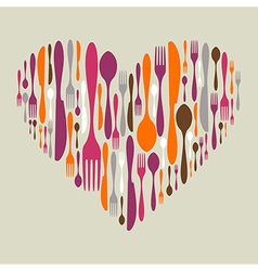 Cutlery icon set in heart shape vector image