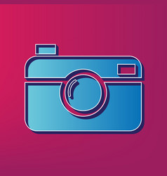 digital photo camera sign blue 3d printed vector image