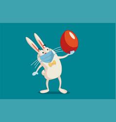 easter bunny wearing medical mask vector image