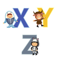 english alphabet with kids in animal costume x-z vector image vector image