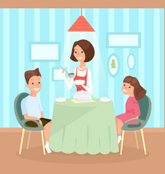 family meal mother pours vector image