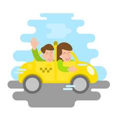 fast taxi with happy people vector image