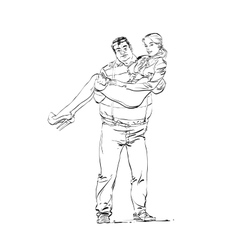 Fat rich guy with a young girlfriend on his hands vector