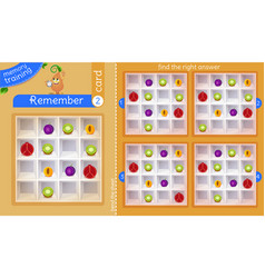 Find right answer memory fruit vector