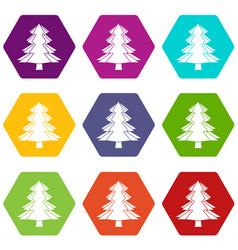 Fir tree icon set color hexahedron vector
