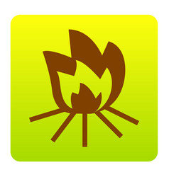 fire sign brown icon at green-yellow vector image