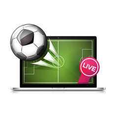 football soccer ball flying from laptop screen vector image