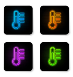 glowing neon thermometer icon isolated on white vector image
