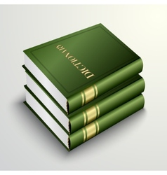 Green dictionary book pile vector