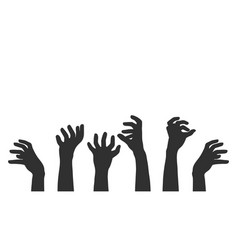 hands on white background zombie theme vector image
