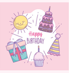 happy birthday cake gift hat cupcake sun cartoon vector image